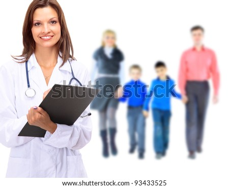 Young attractive family doctor isolated over white background - stock photo