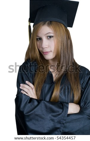 Young attractive female Asian student holding her arms crossed - stock photo
