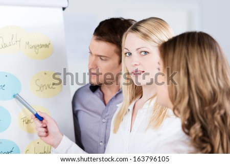 Young attractive female business team leader having a discussion with her team as they stand together grouped around a flip chart with a written presentation - stock photo