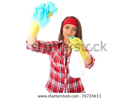 young attractive female cleaner in red shirt and yellow rubber gloves, isolated on white background - stock photo