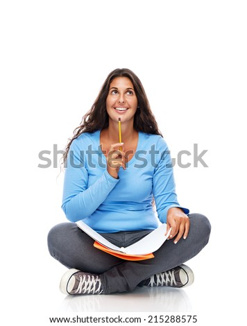 Young attractive female College Student thinking - stock photo