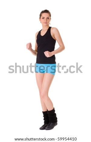 young attractive female doing some exercise, studio shoot isolated on white - stock photo
