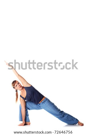 Young attractive female fitness.  Caucasian girl doing  yoga poses isolated on white background. - stock photo