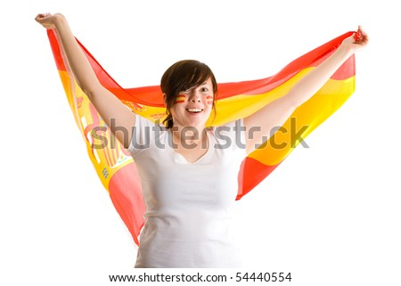 young attractive female holds spanish flag, also have her cheeks painted with spanish flags, all isolated on white background