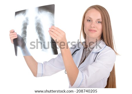 Young attractive female radiologist on white isolated background - stock photo