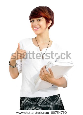 Young attractive female student with books on white background 