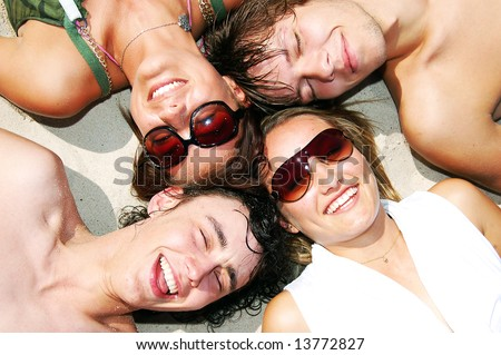 Young attractive friends enjoying the summertime and company of each other.