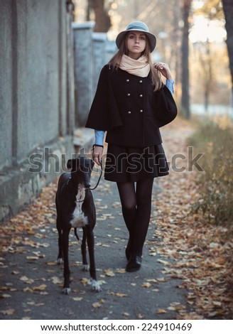 Young attractive girl dressed elegantly walks with the dog greyhound autumn outdoors - stock photo