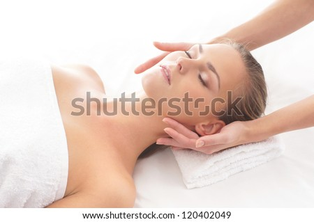 Young attractive girl in spa - stock photo
