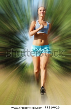 Young attractive girl running on the morning - stock photo