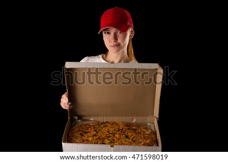 young attractive girl with a pizza box