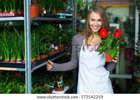 Young attractive girl with a plant