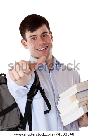 Young attractive handsome student with books shows thumb up. Isolated on white background. - stock photo