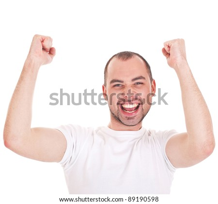 Young attractive happy smile business man stand and expressing success and victory concept - stock photo