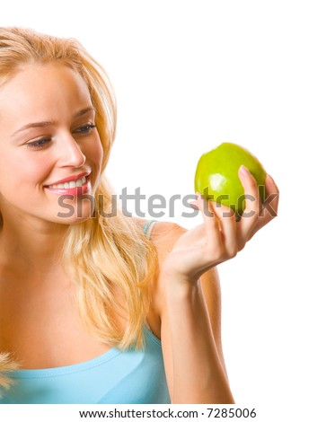 Young attractive happy smiling woman with apple, isolated - stock photo