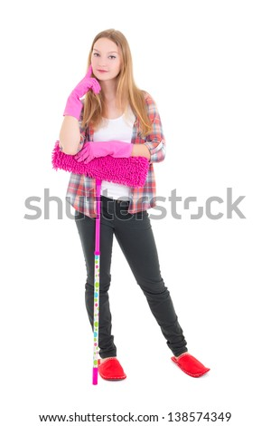 young attractive housewife with pink mop isolated on white background - stock photo