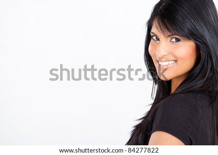 young attractive latin american woman on white with copy space - stock photo