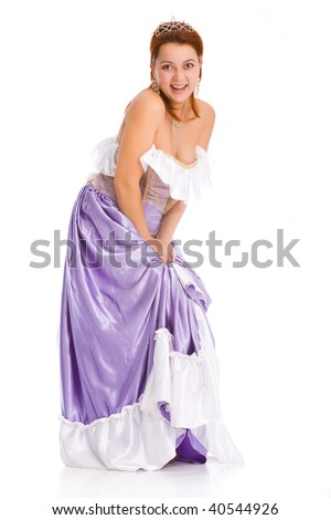 young attractive laughing woman in ball dress. - stock photo
