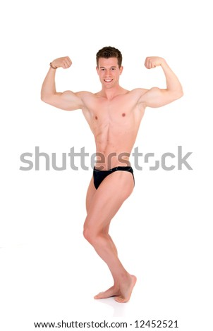 Young attractive male body builder, demonstrating contest pose. Studio shot, white background.