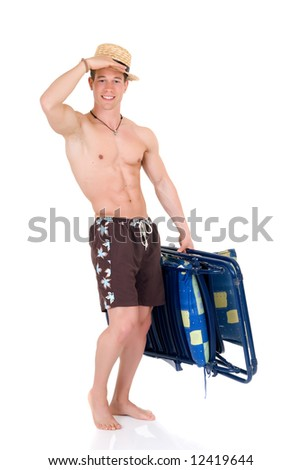 Young attractive male body builder with beach chair. Studio shot, white background. - stock photo