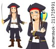 Young attractive male pirate with sword and funny parrot on shoulder - stock photo
