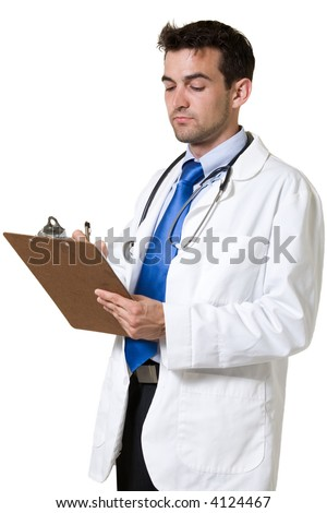 Young attractive man doctor wearing white lab coat holding and writing on a patient chart with a stethoscope around shoulders standing on white background