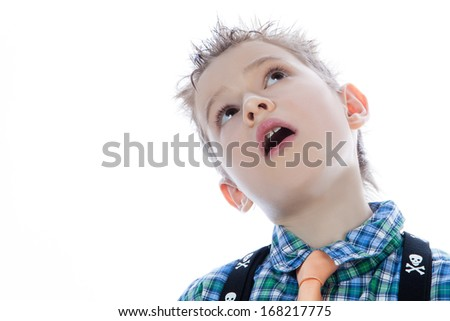Young attractive man face looking up on the white - stock photo