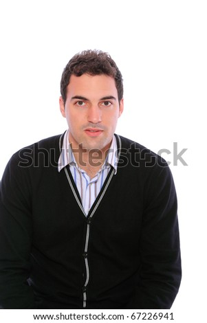 Young attractive man  isolated over white background - stock photo