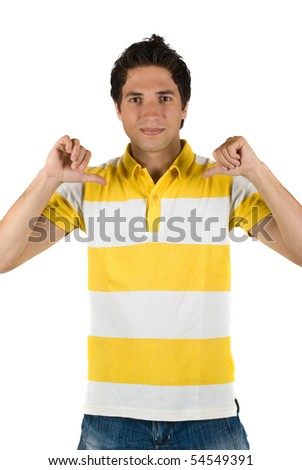 Young attractive man pointing to his blank yellow-white t-shirt with both hands isolated on white background - stock photo