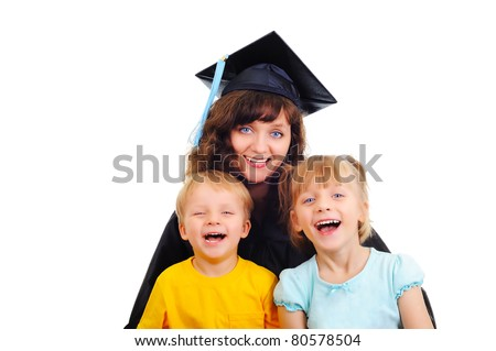 Young attractive mother is graduating with kids - stock photo