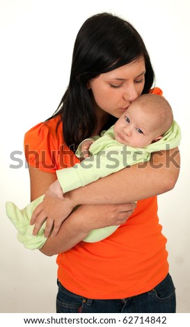 young attractive mother with cute child, two months old baby boy - stock photo