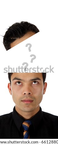 Young attractive nepalese businessman  looking up into own head, questions popping up,  Studio shot. White background. - stock photo