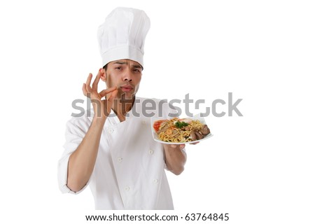 Young attractive nepalese chef male holding a tasty oriental plate. Studio shot. White background. - stock photo