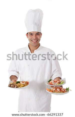 Young attractive nepalese chef male holding three tasty oriental plates. Studio shot. White background.