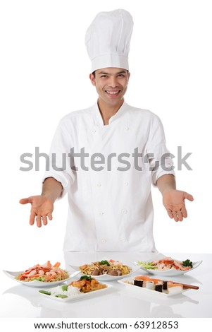 Young attractive nepalese man, chef showing diversity of oriental meals on plates. Studio shot, white background. - stock photo