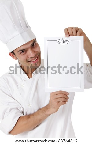 Young attractive nepalese man chef showing the menu list, blank page. Studio shot, white background