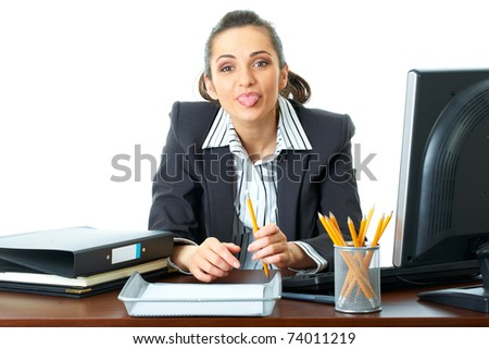 young attractive office worker show her tongue, funny face, isolated on white - stock photo