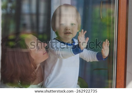 Young Attractive Parents and Child Portrait  - stock photo