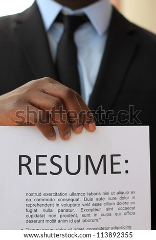 Young, Attractive Professional African American Business Man Looking for a Job - stock photo