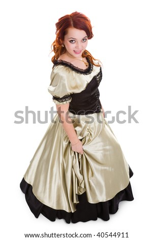 young attractive smiley woman in ball dress. view from above. - stock photo