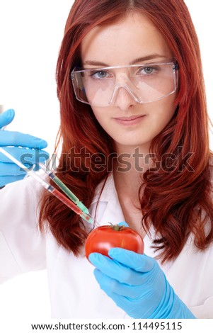 Young attractive smiling female biologist in uniform, isolated on white - stock photo