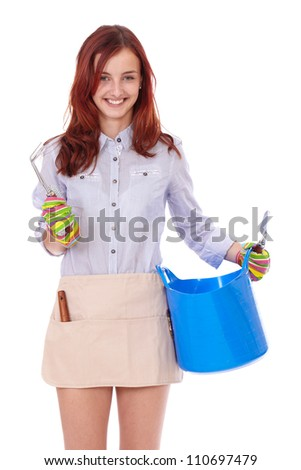 Young attractive smiling happy gardening girl bowl and gloves, isolated on white