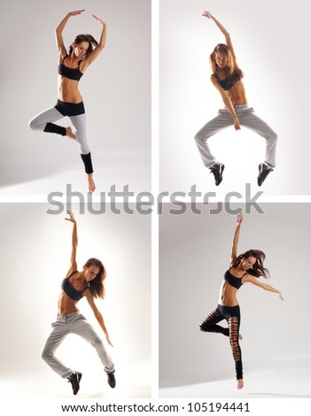 Young, attractive, sporty and sexy modern dancer - stock photo