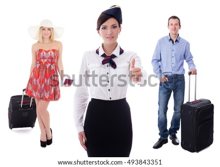 young attractive stewardess and passengers with suitcases isolated on white background