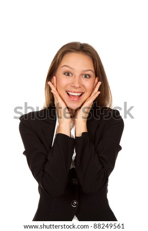 Young attractive surprised excited smile business woman, isolated over white background - stock photo