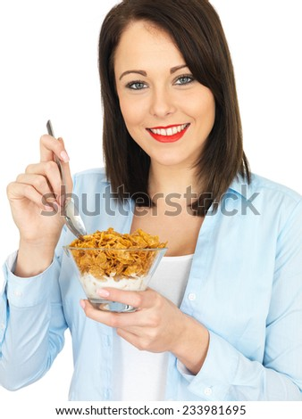 Young Attractive Twenty Something Woman Eating Breakfast Cereals