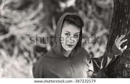 young attractive woman black and white photography - stock photo