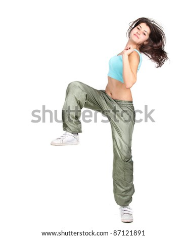 young attractive woman dancing isolated over white