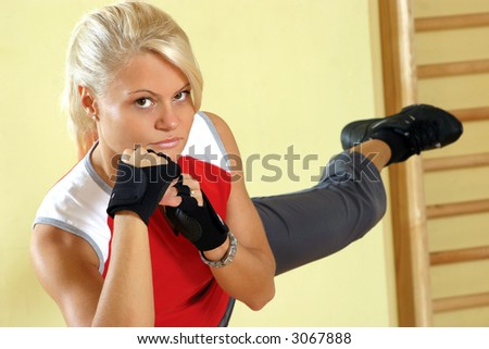 Young attractive woman, excercising in gym - stock photo