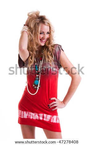 Young attractive woman in a hippie girl outfit. - stock photo